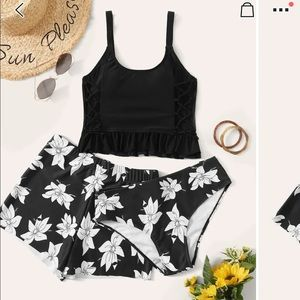 Lace up Top 3 Piece swim set Floral